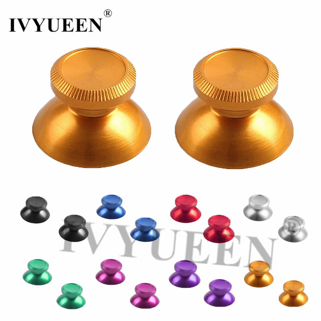 IVYUEEN 2 X Gold Aluminum Thumbsticks Analog Stick for Sony PlayStation Dualshock 4 PS4 Pro Slim Controller Metal Joystick Cap
