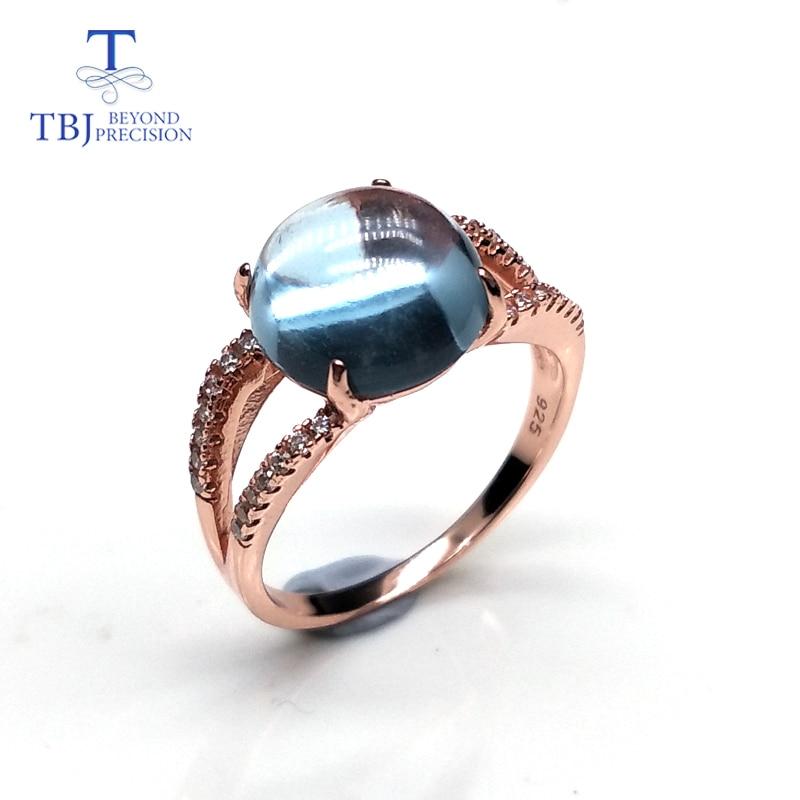 Adequado para Meninas Topázio com 925 Natural Pedra Preciosa Azul Prata Esterlina Moda Jóias Finas Diário ou Festa Usar Presente Agradável Céu