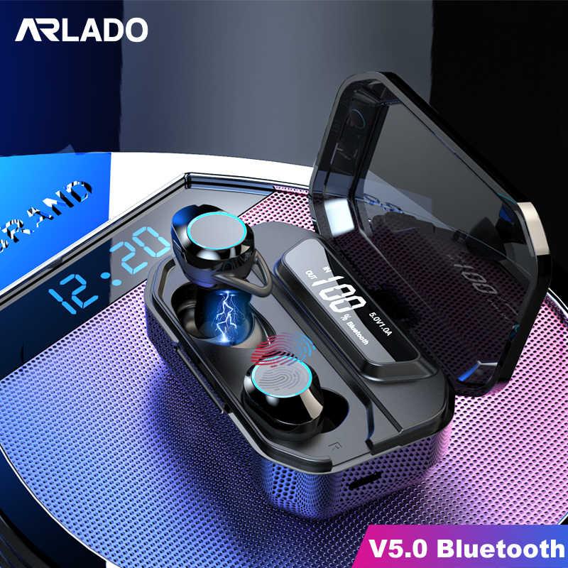 Arlado G02 TWS słuchawki Bluetooth bezprzewodowe ciężkie słuchawki douszne basowe sterowanie dotykowe Stereo bezobsługowy zestaw słuchawkowy z etui z funkcją ładowania 3000mAh