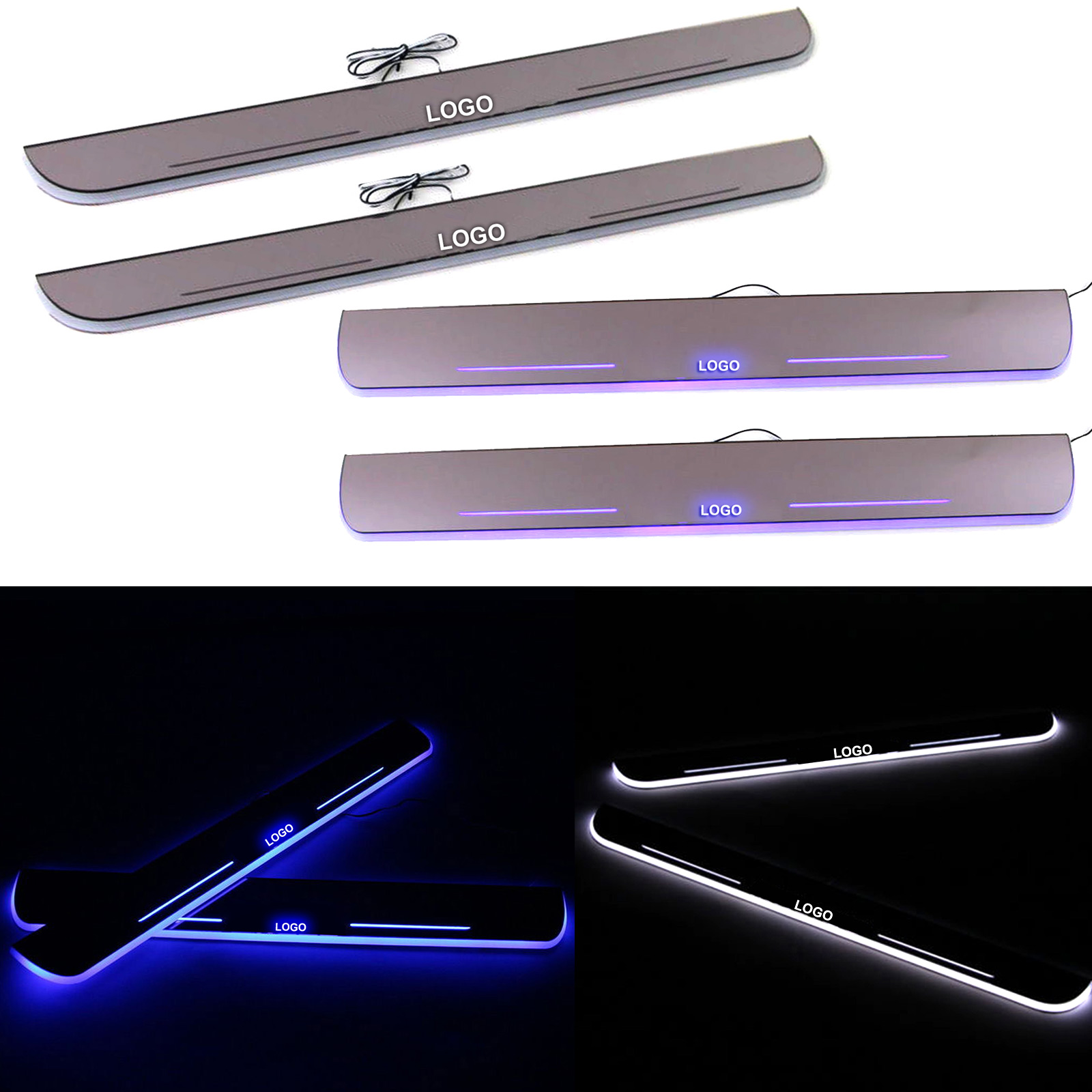 1pair LED Moving Welcome Lights Door Sill Scuff Plate Pedal for Chevy/Ford/Buick DXY88 for buick lacrosse excelle gt excelle xt verano light led moving front door scuff sticker sill plate pedal protector styling