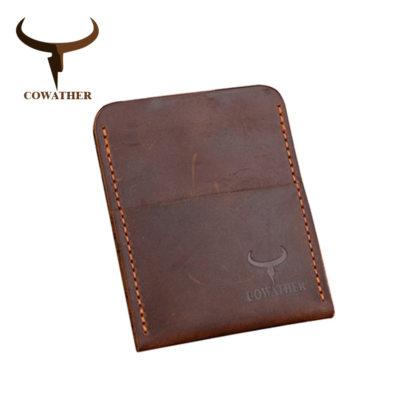 COWATHER High Grade Crazy Horse Leather Mens Credit Card Holder For Men 2019 Male ID Cards Wallet 116 Carteira Free Shipping