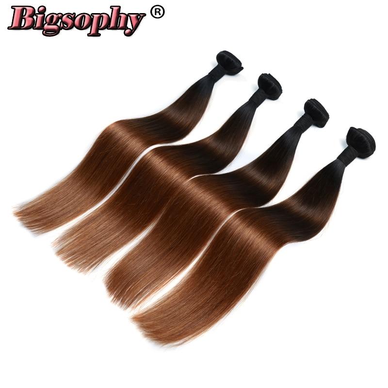 Bigsophy Indian Hair Weave Bundles Straight Hair 4 Bundles Remy Hair Extension Ombre Color 3 Tone 1B/4/30 Can Buy 3/4 Bundles