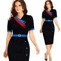 S-xxl de las mujeres elegantes sexy fajas patchwork delgado túnica work party dress retro negocios vaina bodycon vestidos del lápiz vestidos n72