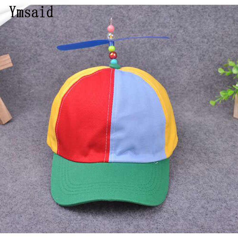 8c12451d0bfd9 Funny Adult Child Propeller Baseball Caps Colorful Patchwork Brand Hat  Propeller Bamboo Dragonfly Boy Girl Snapback