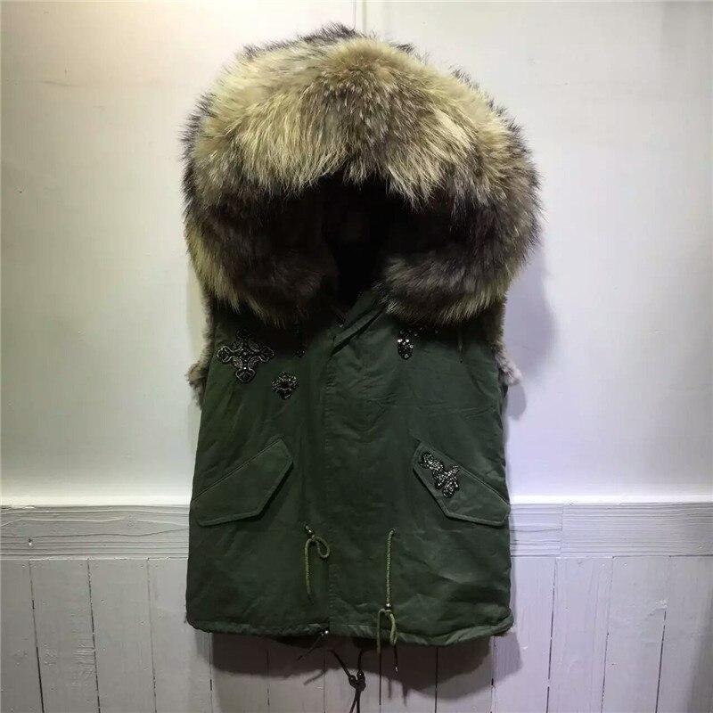 Пальто унисекс с бусинами, зеленое пальто, зимняя меховая куртка без рукавов, жилет с капюшоном