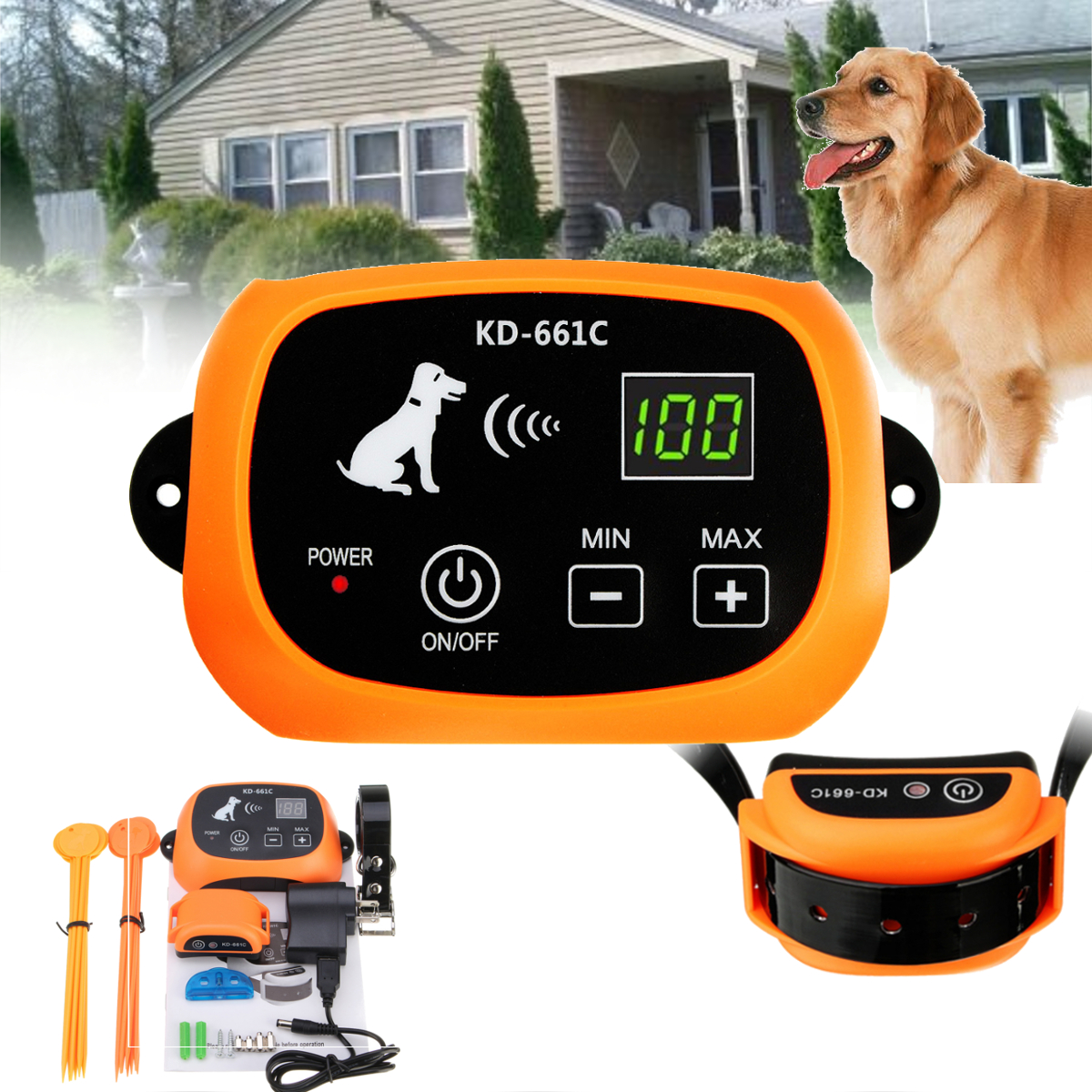 Pet Fence Dog Undergroud Electric Fencing System Wireless 1 to 3 Dog Fence NoWire Pet Containment System Rechargeable Tool Set kimpets pet dog shit scooper feces clip tool