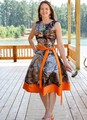 Custom Made New Knee Length Camo Bridesmaid Dresses Camouflage Wedding Party Gowns 2017 Orange Satin Special Occasion Dress