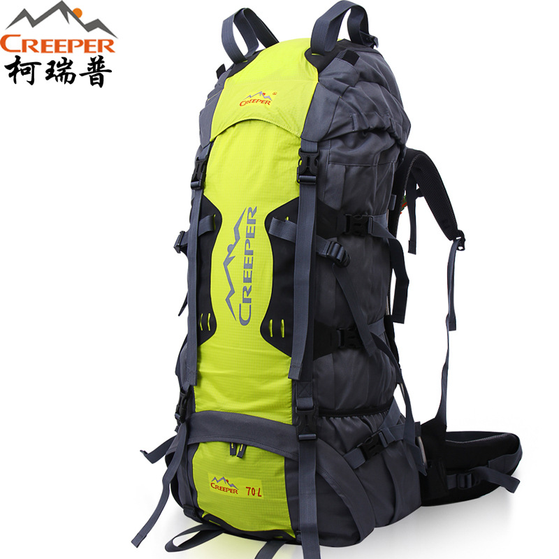 70 Liters Creeper Outdoor Mountaineering Backpack Travel Camping Large Capacity Shoulders Tactic Bag with Rain Cover
