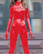 Látex goma mujeres Sexy rojo Bodysuit guantes Catsuit talla XS ~ XXL(China)