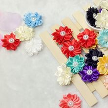 30pcs 35mm mix color with pearl handmade flowers ribbon decoration accessories sewing appliques A131