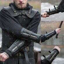 Для взрослых в средневековом стиле боевой воин в доспехах Ларп рыцарь Защита руки наручный ремешок пряжка кожаный браслет заклепки рукавица костюм реквизит для мужчин