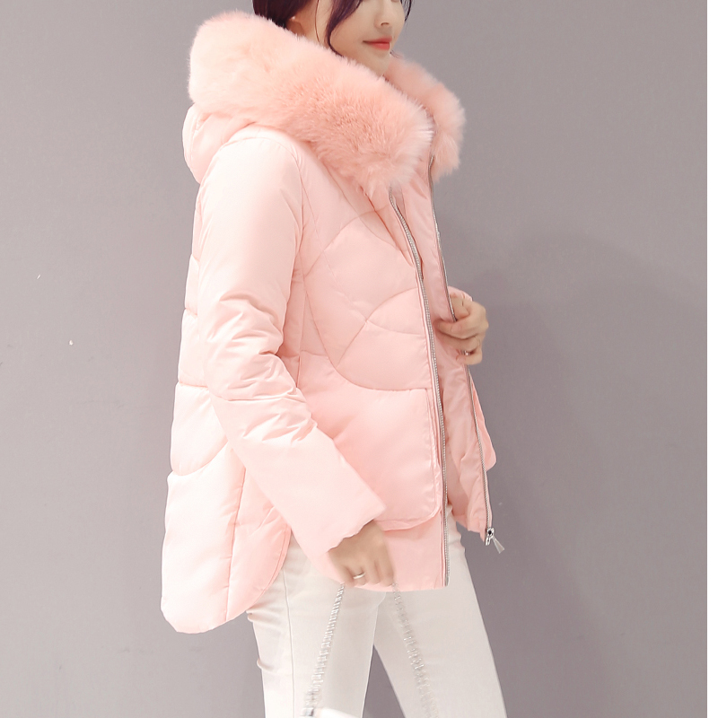 ФОТО winter jacket women Large fur collar down wadded jacket female cotton-padded jackets thickening women winter coat