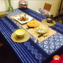 Tie dye Unique Original Design Decorations / Handmade Shibori Itajime Table Cloth Many Uses Mats pads Cover Export
