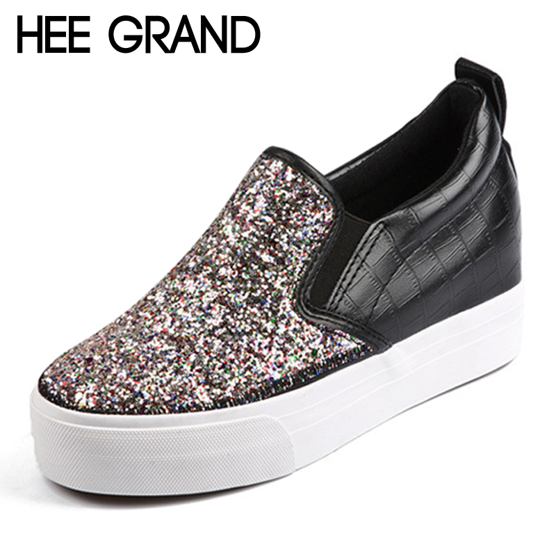 HEE GRAND Glitter Creepers 2017 Bling Casual Platform Shoes Woman Slip On High Heels Fashion Wedges Women Shoes XWD5203 retro embroidery women wedges sandals summer style platform shoes woman casual thick high heels creepers slippers plus size 9