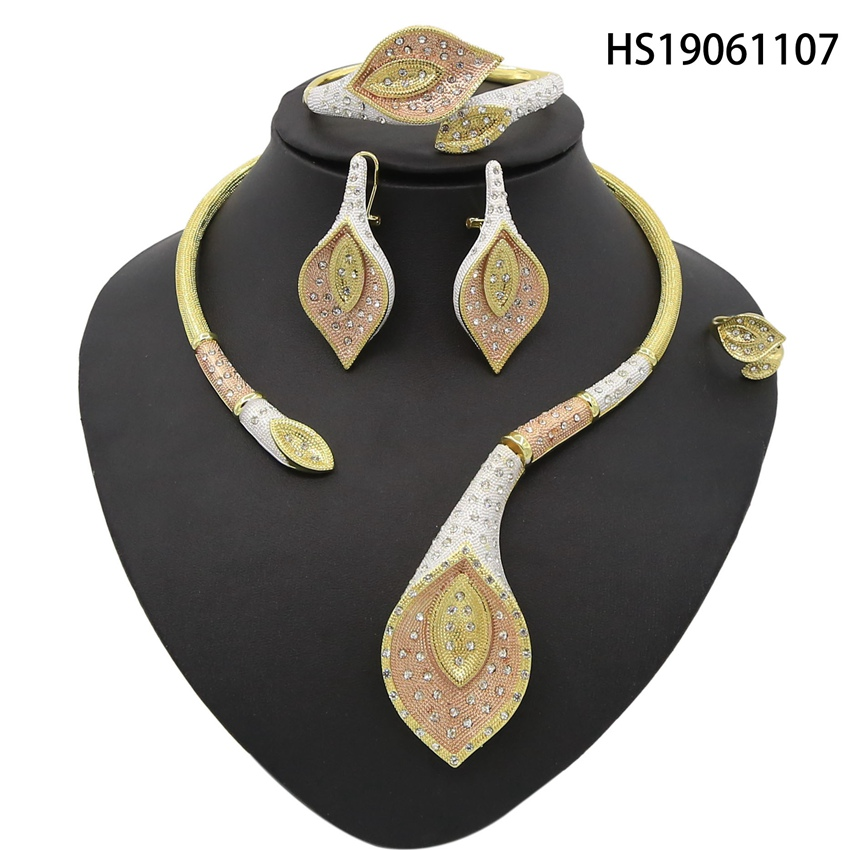 Yulaili High Quality Dubai Gold Jewelry Set For Women African Big Leaf Shape Fashion Necklace Earring Ethiopian