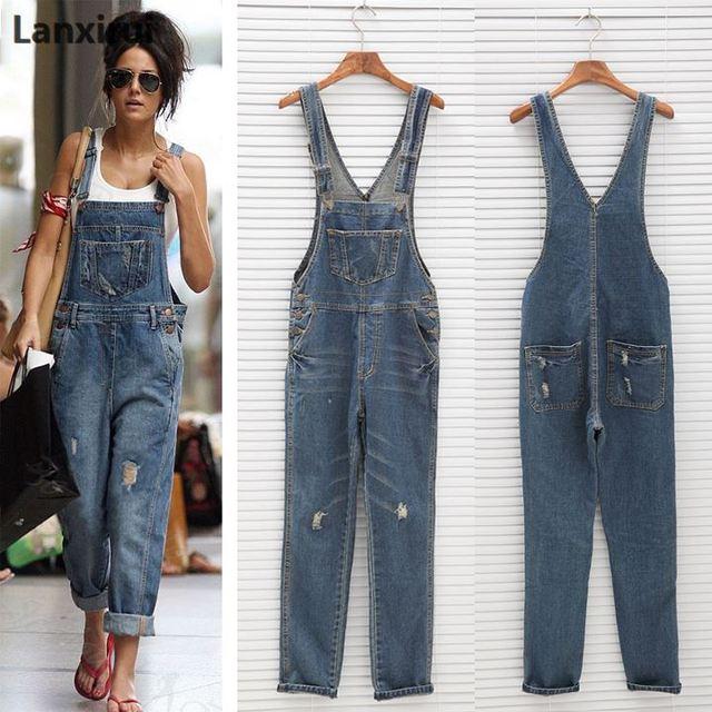 3c8754930a7 Модные женский джинсовый комбинезон женские весенние модные свободные  джинсы комбинезон женский Повседневное плюс Размеры комбинезон легкий