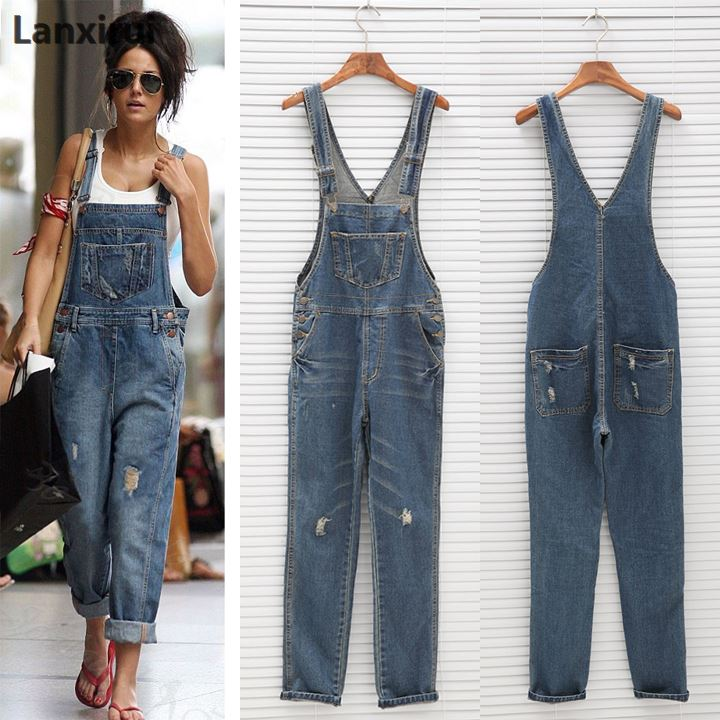 e8c0a929c9 Fashion Women Denim Jumpsuit Ladies Spring Fashion Loose Jeans Rompers  Female Casual Plus Size Overall Playsuit With Pocket
