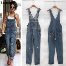 Fashion Women Denim Jumpsuit Ladies Spring Fashion Loose Jeans Rompers Female Casual Plus Size Overall Playsuit With Pocket(China)