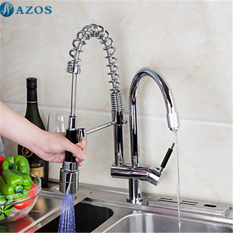 Taps Kitchen Sinks Kitchen sink faucet 3 color led light rotatable spring hose pull out kitchen sink faucet 3 color led light rotatable spring hose pull out down spout waterfall chrome polish deck mount mixer cflt051 in kitchen faucets from workwithnaturefo