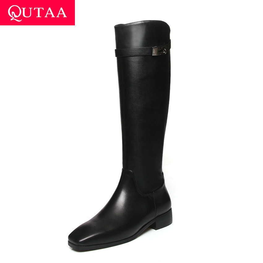 QUTAA 2020 Fashion Metal Buckle Square Toe Knee High Boots Behind Zipper Thick Low Heel New Winter Women Long Boots Size 34-43QUTAA 2020 Fashion Metal Buckle Square Toe Knee High Boots Behind Zipper Thick Low Heel New Winter Women Long Boots Size 34-43