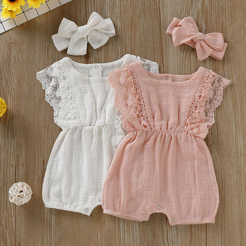 HTB1AKnecouF3KVjSZK9q6zVtXXaC Summer Newborn Girls Rompers Set Flare Sleeve Solid Print Lace Design Romper Jumpsuit With Headband One-Pieces