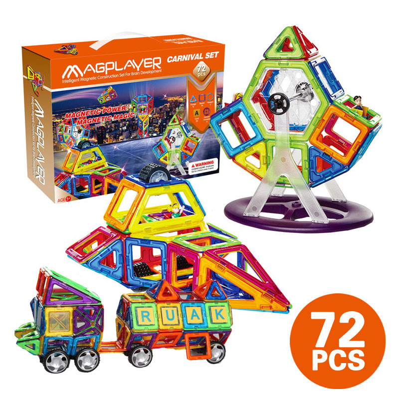 Magnetic Children Structure blocks Toy DIY Intelligence Building Gift Box Colorful multiple shapes 72pcs MAGPLAYER 3D model building blocks stick diy lepin toy plastic intelligence magic sticks toy creativity educational learningtoys for children gift page 3