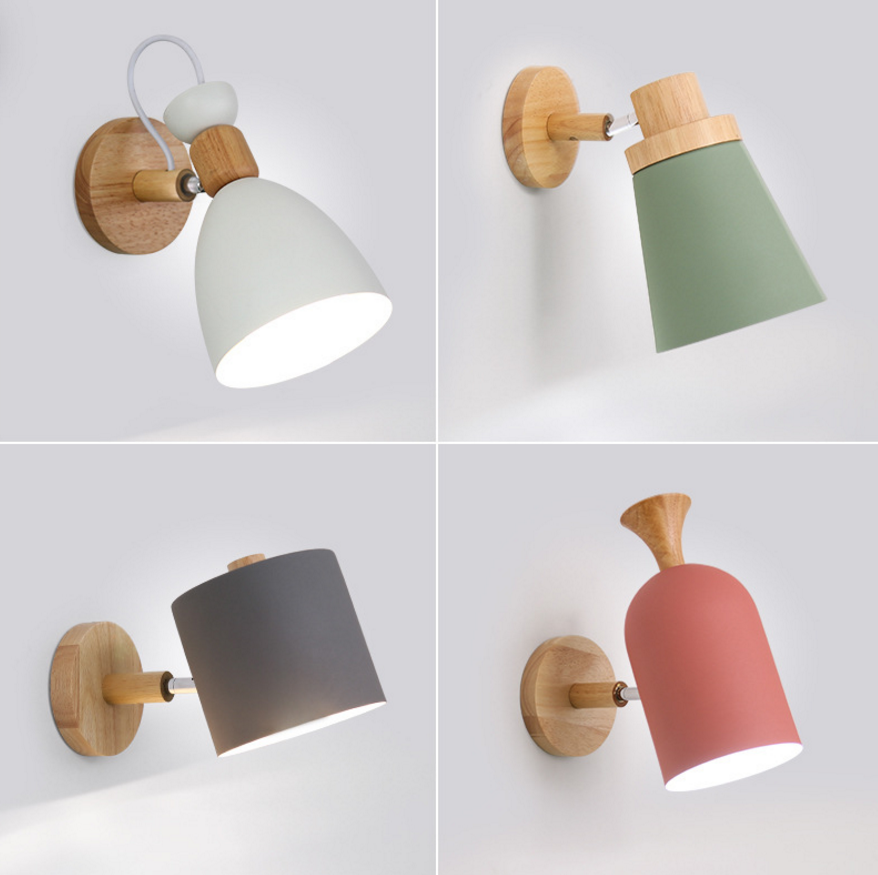 <font><b>Nordic</b></font> Design Led Indoor <font><b>Wall</b></font> <font><b>Lamp</b></font> Metal Lampshade <font><b>Wood</b></font> Bedside Corridor Vanity Light Luminaire <font><b>Wall</b></font> Sconce Home Deco Room <font><b>Lamps</b></font> image