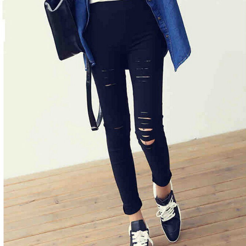 Ripped Black Punk Rock Slim Leggings For Women Skinny Fitness Gothic Fashion Solid Close Fitting Harajuku
