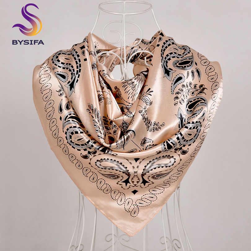 [Bysifa] Hijab Sciarpa Nuovo Nero Delle Donne Quadrato di Seta Dello Scialle Della Sciarpa di Marca di Lusso di Inverno Sciarpe Fazzoletto Primavera Femminile Autunno testa Sciarpe