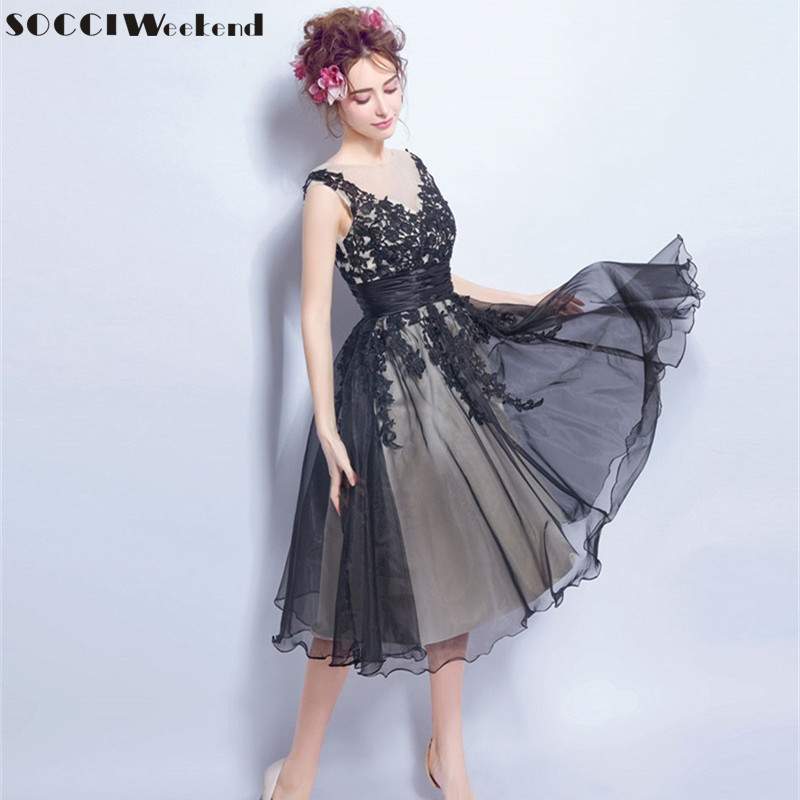SOCCI Black Elegant Tulle Lace Evening Dresses New Short Sexy Lady Deep V Neck Backless Bride