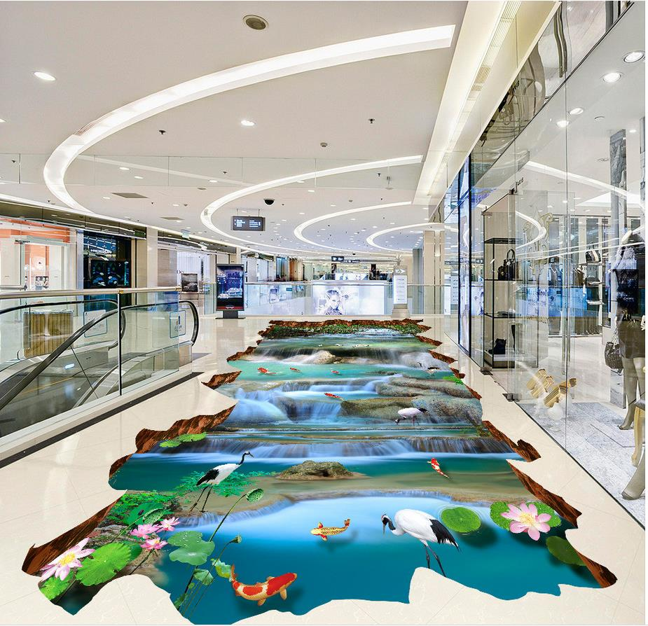 3d flooring Waterfall river carp lotus outdoor scenery pvc self-adhesive wallpaper 3d floor painting wallpaper free shipping flooring custom living room self adhesive photo wallpaper wonderland lotus pool 3d floor thickened painting flower