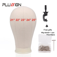 Plussign Cork Canvas Block Head With Stand Set 21 22 23 24 25 Inches Mannequin Manikin Head Wig Stands With Wig Blocking Pins