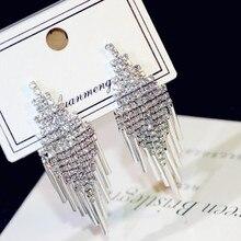 925 Fashion Jewelry Personality Temperament Crystal Tassel Earrings Bridal Earring Oorbellen For Women Long