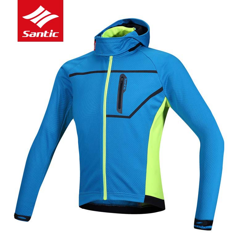 Santic Cycling Jacket Men Winter Fleece Thermal Warm With Hooded MTB Road Bike Bicycle Clothes Composite Downhill Ropa Ciclismo купить