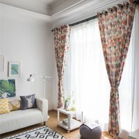Soft Colorful Cotton Blinds Print Line Shading Window Curtains High Quality Black Out Red Curtain For Living Room 576