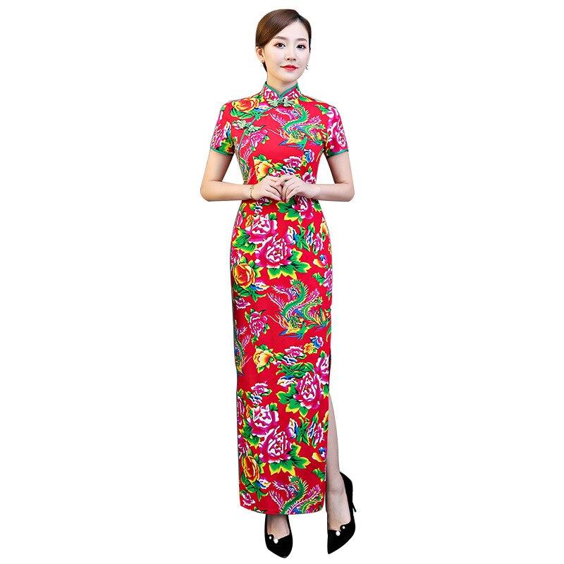 赤プラスサイズ 4XL 5XL 中国ヴィンテージプリントフェニックス女性袍ファッション手作りボタンチャイナノベルティ中国のフォーマルドレス  グループ上の ノベルティ & 特殊用途 からの チャイナドレス の中 1