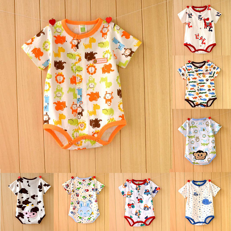 2017 Baby Clothes Short Sleeve Cartoon Animal Style Baby Girls Clothing Infant Kids Jumpsuits Roupas Bebes Summer Baby Rompers baby boys girls rompers short sleeve infant jumpsuits summer kids clothing sets cartoon newborn baby clothes for 0 12 month
