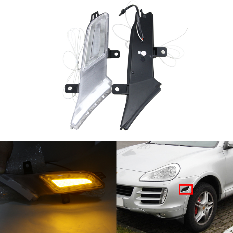 Brand New One Set Led Amber Side Marker Turn Signal Lights W/ White Running Light For Porsche Cayenne  Canbus No Error Lights new new for porsche cayenne 2011 2016 chrome metal side door armrest stripe lid trim 6pcs