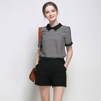Imisha 2017 Newest 5XLsize New Design Ladies Loose Black Short Pants Striped Shirt Fashion Suit For