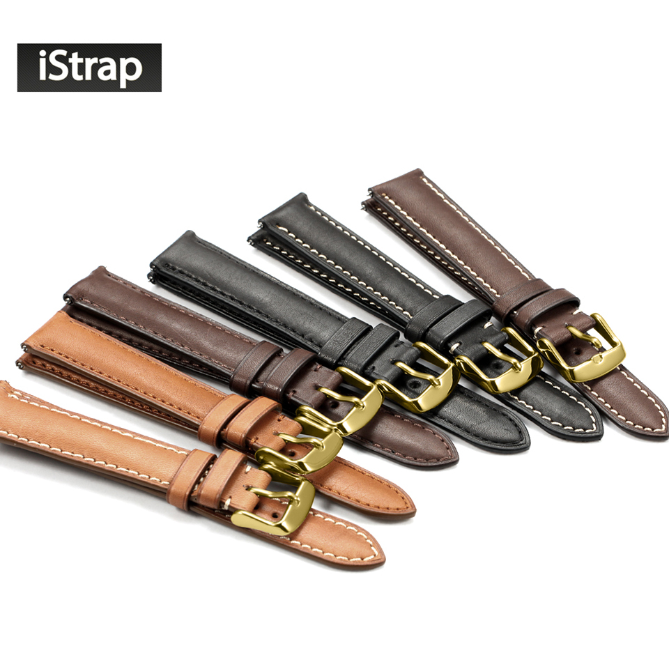 iStrap 18mm 19mm 20mm 21mm 22mm Watchband Genuine leather Watch Strap Replacement Watch Band Gold Pin buckel For Omega Tissot цена