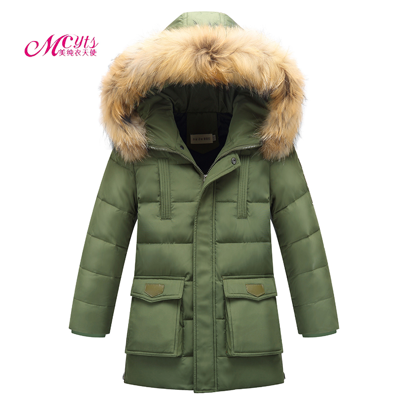 6 8 10 12 14 15 Years Big Boys Winter Down Jacket Kids Warm Thick Duck Down & Parkas Children Casual Fur Hooded Jackets / Coats 2017 kids jacket winter for girl and coats duck down girls fluffy fur hooded jackets waterproof outwear parkas coat windproof