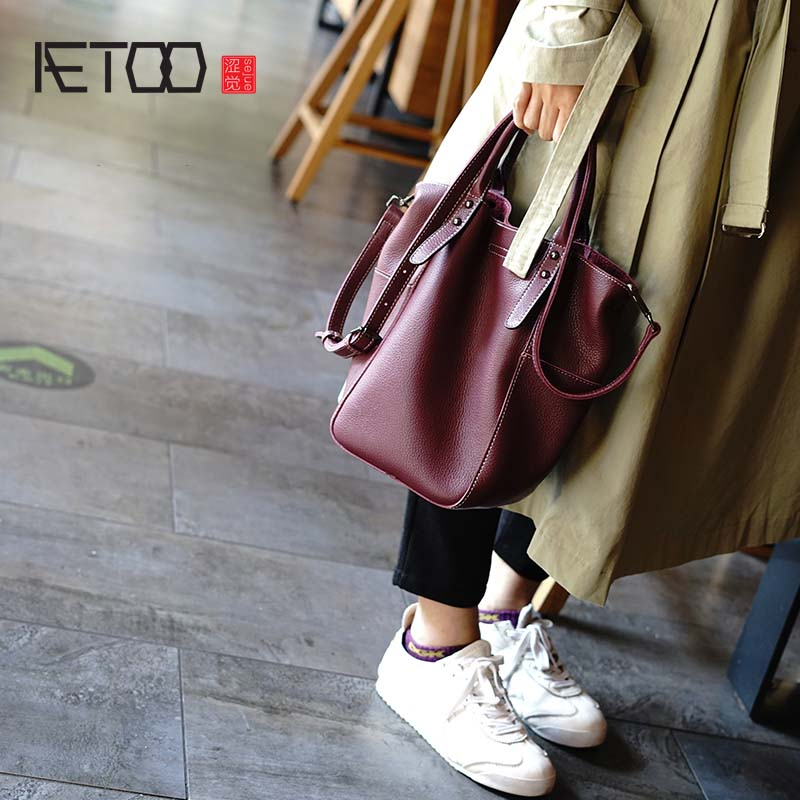AETOO The first layer of soft leather simple versatile tote bag commute diagonal cross bag literary
