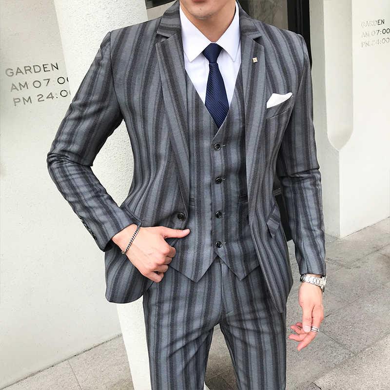 英国男性スーツ縦縞ビジネスカジュアルフォーマルな服プラスサイズ高品質ドレススリムフィット男性用ウェディングスーツ