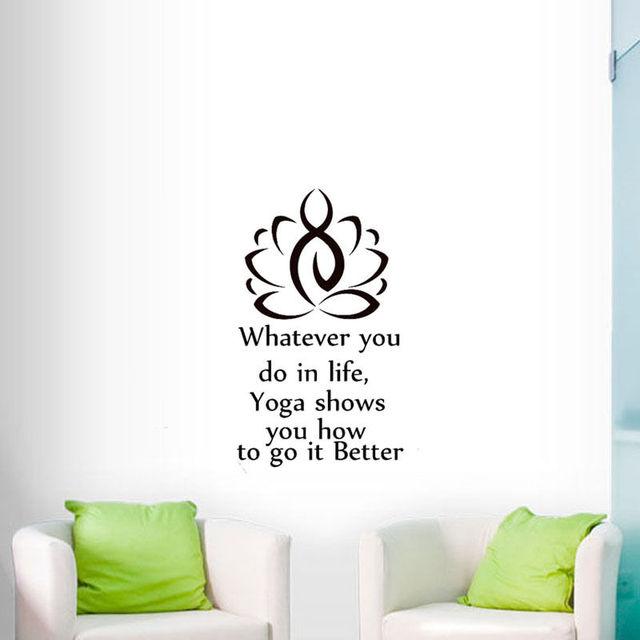 Yoga Lotus Wall Sticker Quotes Removable Vinyl Wall Art Decal Home Decor Living Room Yoga Studio  sc 1 st  AliExpress.com & Yoga Lotus Wall Sticker Quotes Removable Vinyl Wall Art Decal Home ...