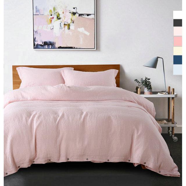 New Color 4pcs Linen Bed Sets Duvet Cover Sets 100% Pure Linen Waterwash  Linen Pillowcase