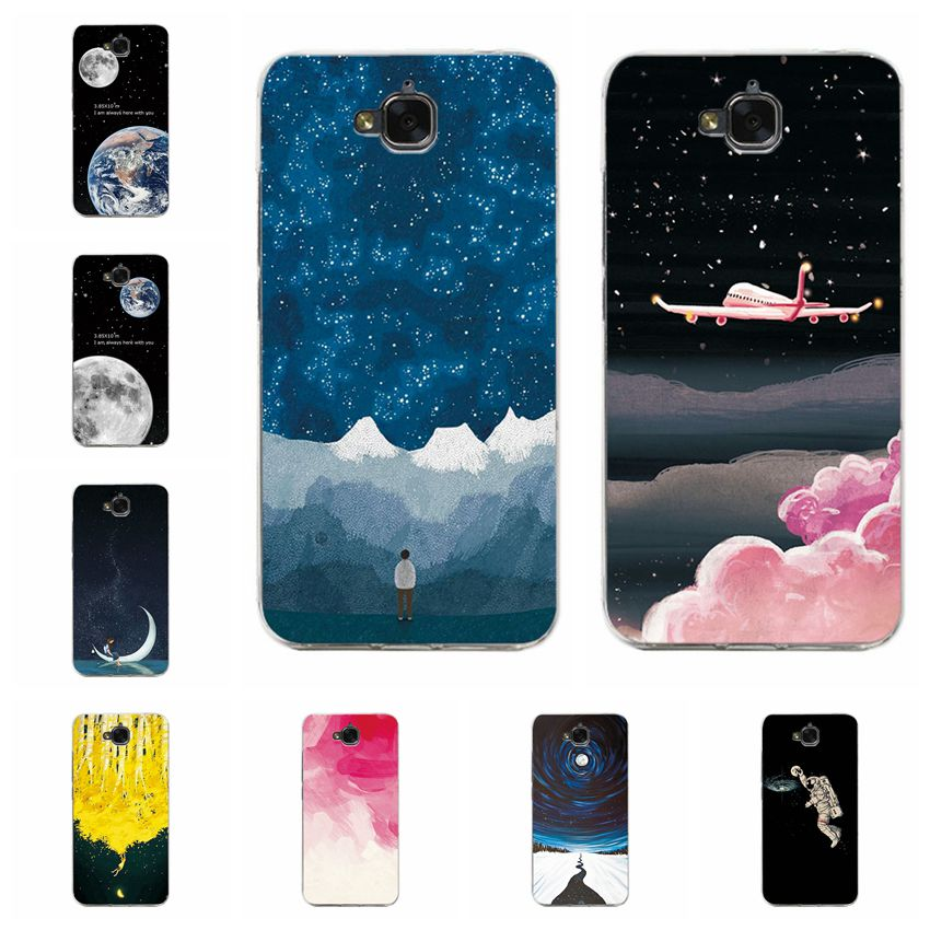 YOUVEI Couple Phone Case For Huawei Honor 4c Pro Earth Moon Painted Soft TPU Silicone Case Cover For Huawei Honor 4 C Pro 5.0''