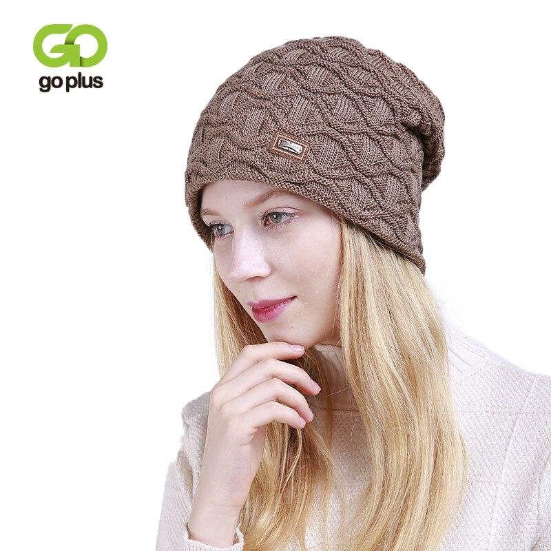 GOPLUS 2019 Spring Winter Knitted Hat Women Fashion Flocking Brand Hat For Girl Hip Hop   Skullies     Beanies   Cotton Warm Caps Female