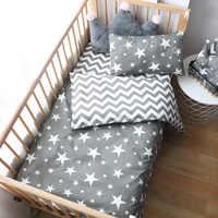 3 pçs jogo de cama do bebê para recém-nascidos estrela padrão criança roupa para o menino puro algodão tecido berço capa edredão pillocase folha