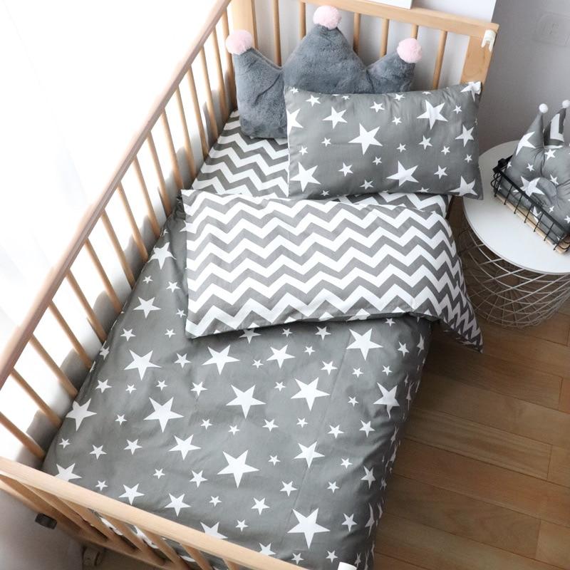 3Pcs Baby Bedding Set For Newborns Star Pattern Kid Bed Linen For Boy Pure Cotton Woven Crib Bedding Duvet Cover Pillocase Sheet