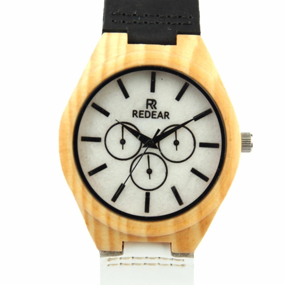 ФОТО Fashion Men's Maple Wood Watch Natural White Stone Watch Dial 3 Eyes Wristwatch Japan Quartz Wristwatches Watch Best Gift Item